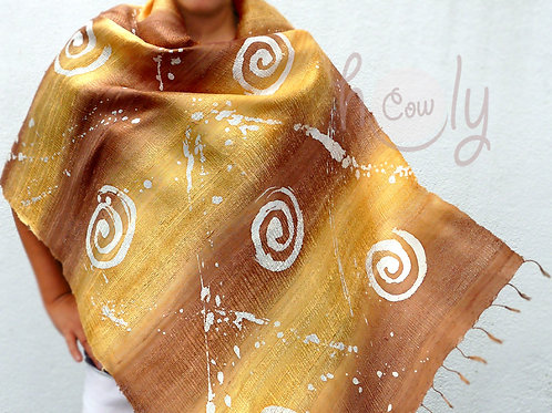 Yellow Raw Natural Pure Silk Scarf