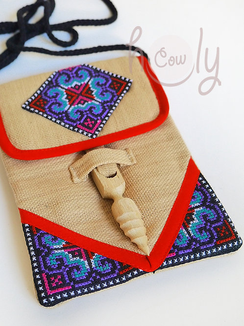Beige And Red Tribal Shoulder Bag