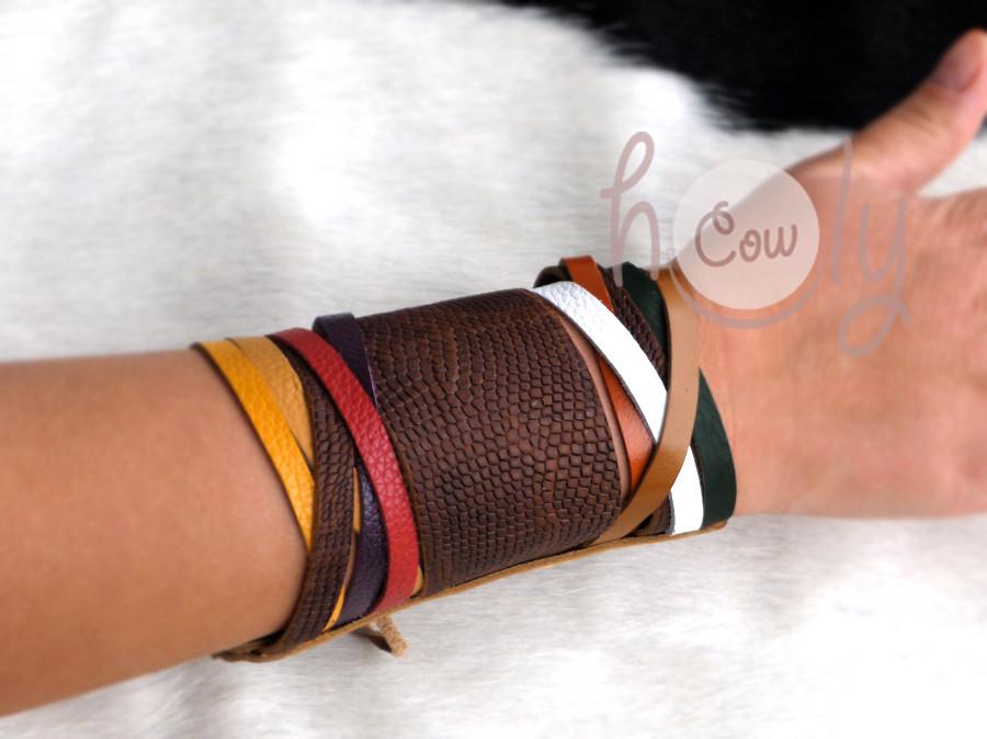 Handmade Leather Snake Print Multicolored Bracelet