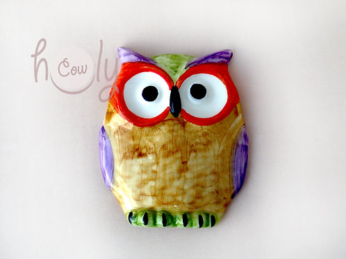 Hand Painted Ceramic Wall Owl