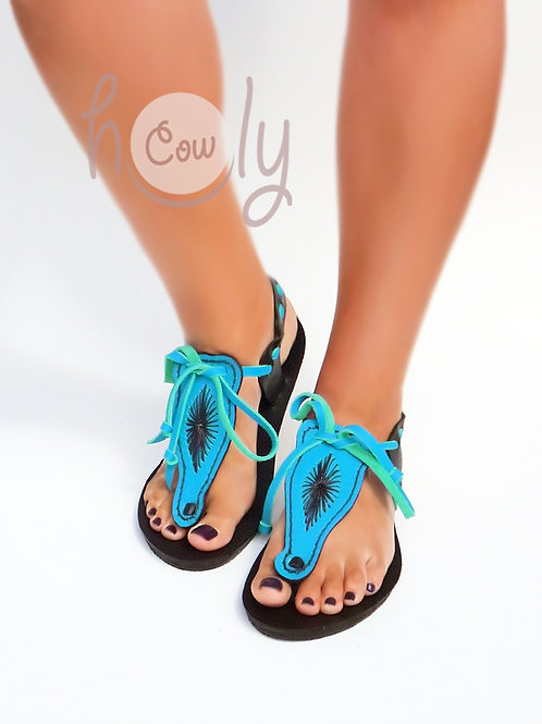 Turquoise And Brown Leather Sandals