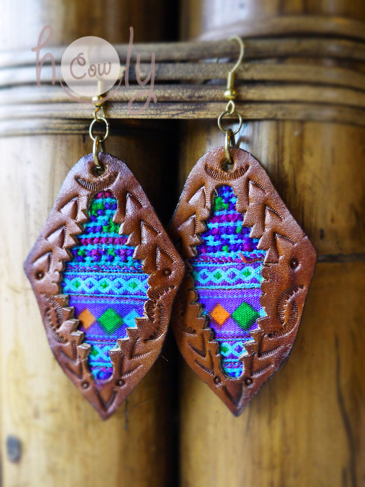 Hill Tribe Leather Boho Chic Hippie Earrings