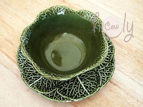 Handmade Ceramic Cabbage Leaf Bowl