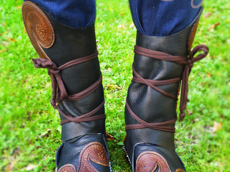 Handmade Celtic Triple Spiral Black & Brown Leather Moccasins