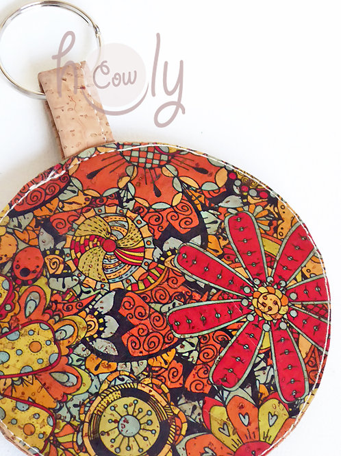 Colorful Key Ring Cork Coin Purse