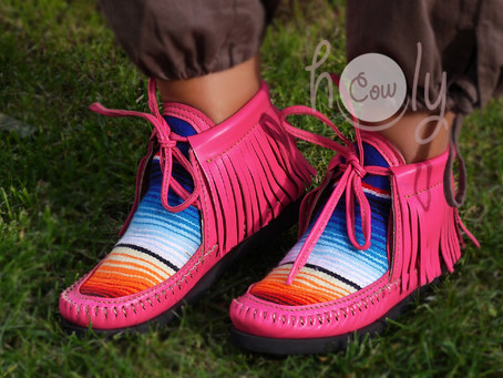 Funky Pink Leather Serape Boots
