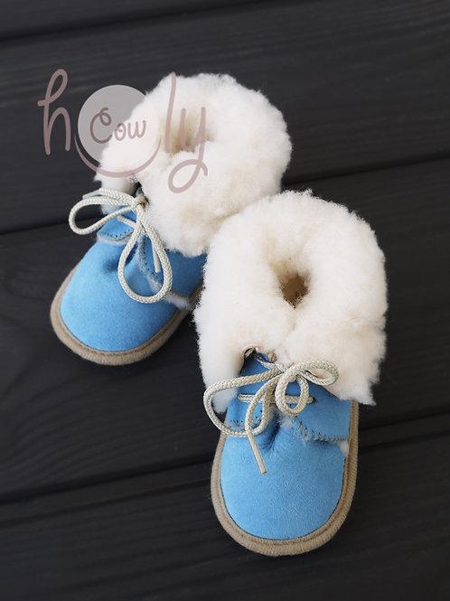 Handmade Sheepskin Blue Baby Boots