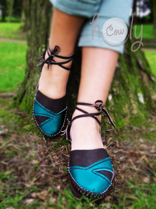 100% Handmade Brown and Turquoise Leather Sandals