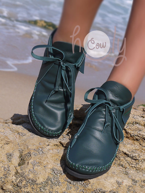 Handmade Green Leather Boots