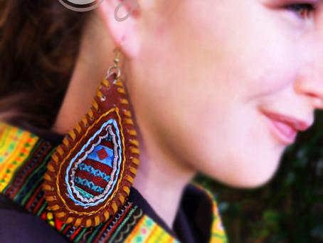 100% Handmade Large Hill Tribe Leather Boho Chic Hippie Earrings