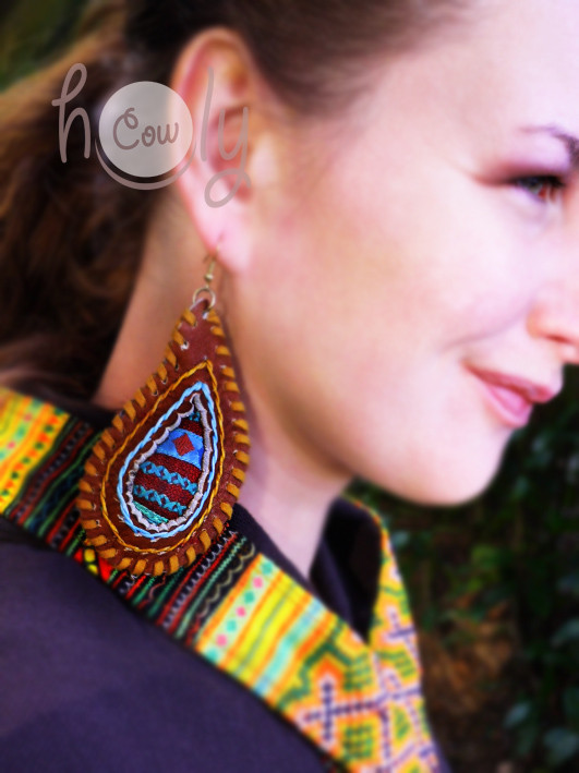 Large Hill Tribe Leather Boho Chic Hippie Earrings