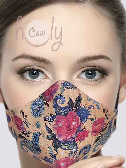 Flowers Reusable Cork Face Mask