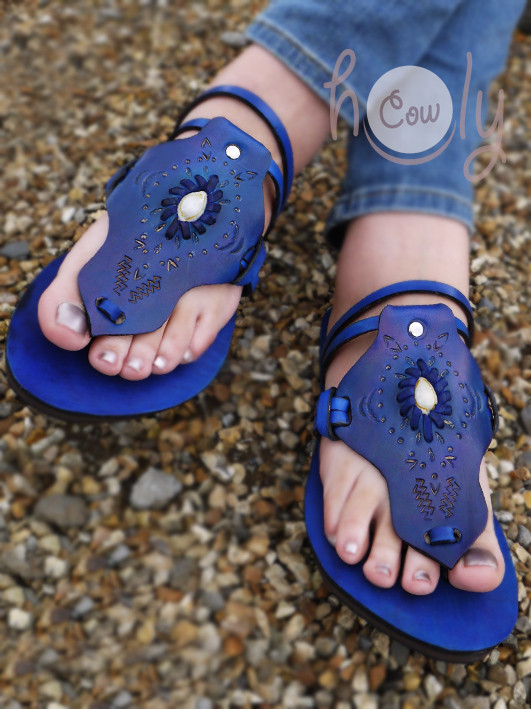 New 100% Handmade Blue Moroccan Leather Sandals