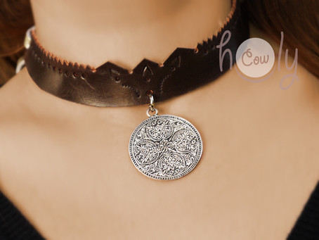 Handmade Brown Leather Necklace With Vintage Style Medallion