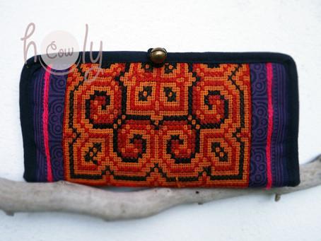 Funky Vegan Tribal Orange & Purple Wallet