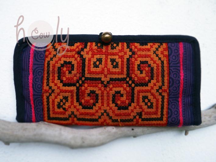 Vegan Tribal Orange & Purple Wallet