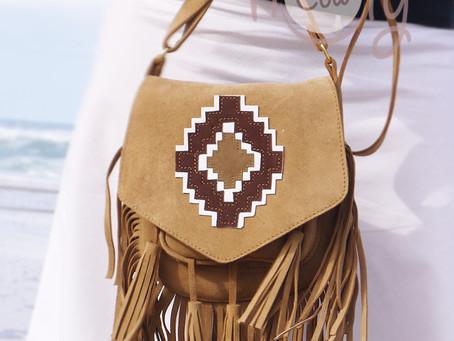 Handmade Beige Suede Leather Cowgirl Shoulder Bag