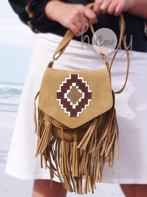 Beige Suede Cowgirl Shoulder Bag