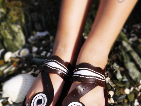 Beautiful 100% Handmade Brown And White Leather Sandals