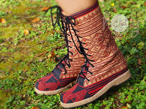 Boho Brown Tribal Vegan Boots