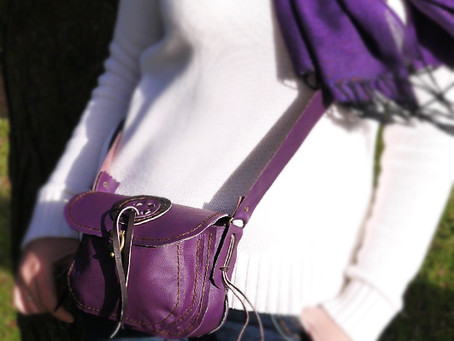 "New Purple Leather ""Magic Circle"" Shoulder Bag"