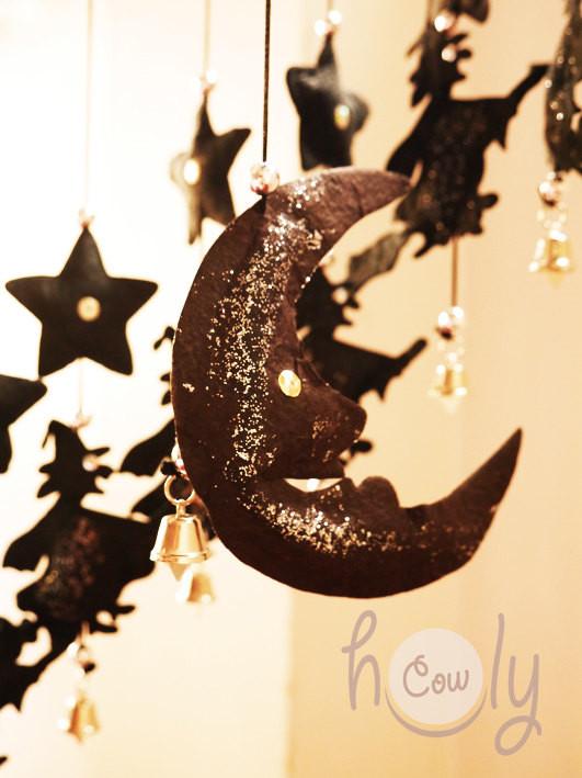 Unique Handmade Halloween Black Moon Hanging Mobile