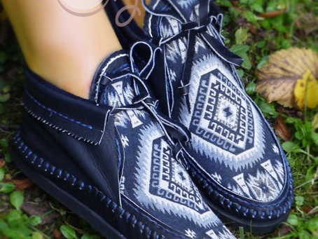 Hand Stitched Blue Leather Moccasins With Native American Tribal Fabric