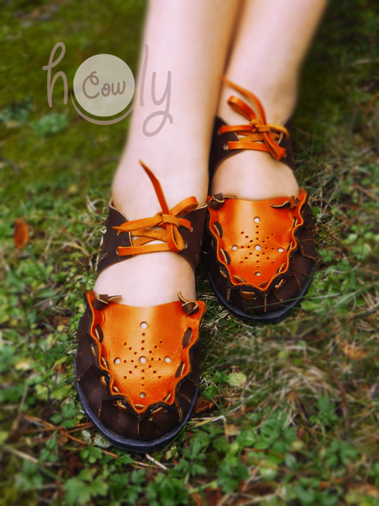 New Funky Brown & Orange Leather Sandals