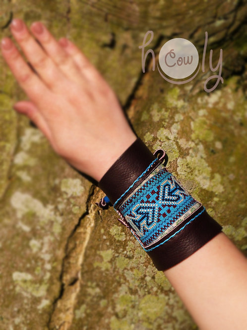 Brown Leather Tribal Bracelet