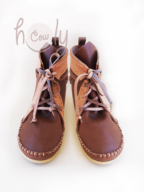 Handmade Brown Leather Moccasin Boots