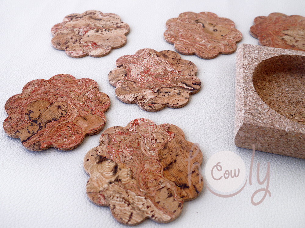 Set of Six Handmade Cork Coasters With Cork Holder