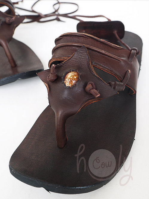 Handmade Brown Leather Shell Sandals