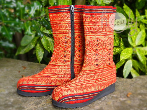 Red Tribal Vegan Boots