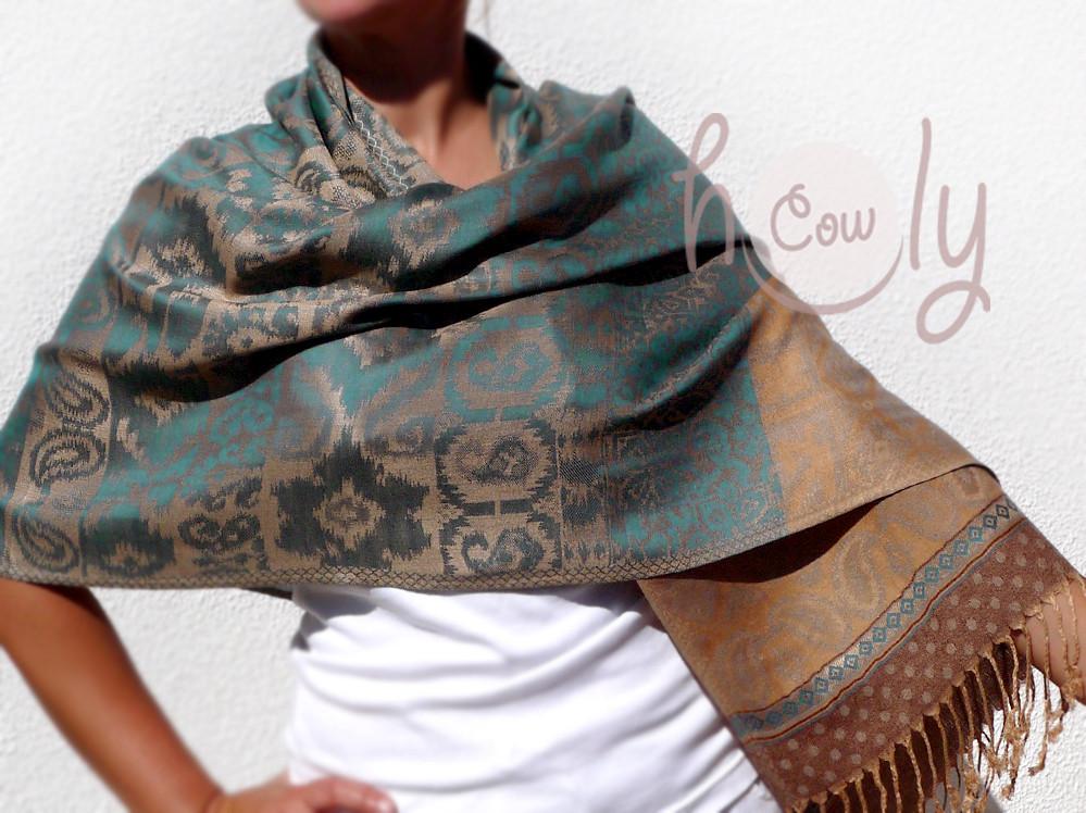 Turquoise Cotton & Silk Scarf