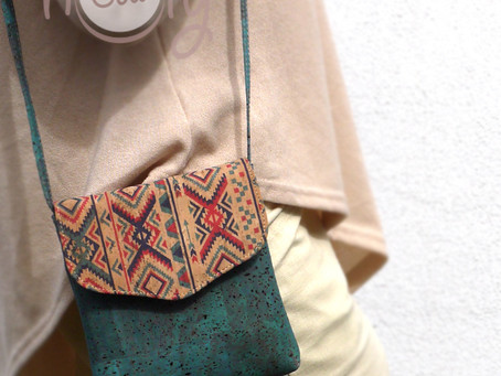 Eco Friendly Turquoise Vegan Shoulder Bag Made From Cork