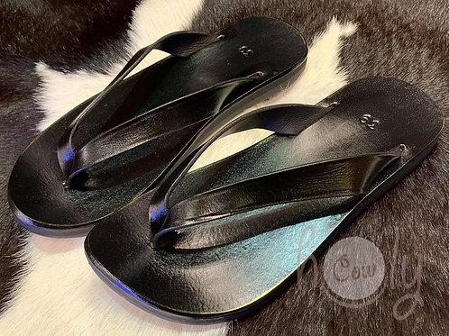 Handmade Boho Black Leather Sandals