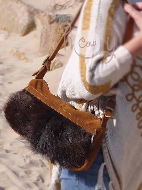 Brown Leather Hairy Hide Shoulder Bag
