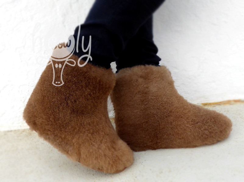 Handmade Brown Sheepskin Slippers