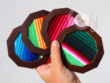 New Set Of Handmade Leather Serape Coasters With Cork Base