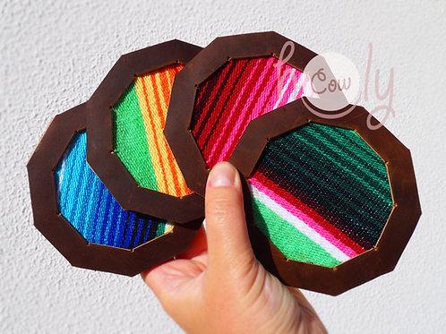 Set of Leather Serape Coasters