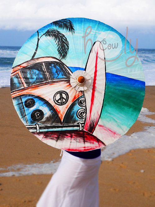 Hand Painted Hippie On Waterproof Parasol