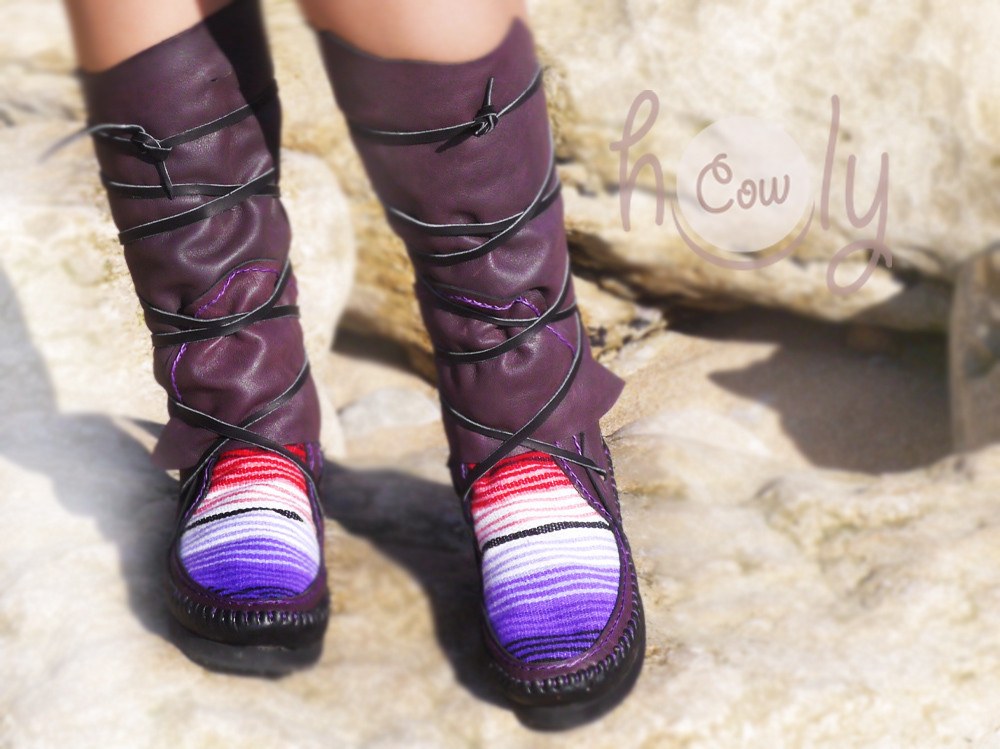 New Purple And Black Leather Serape Moccasins