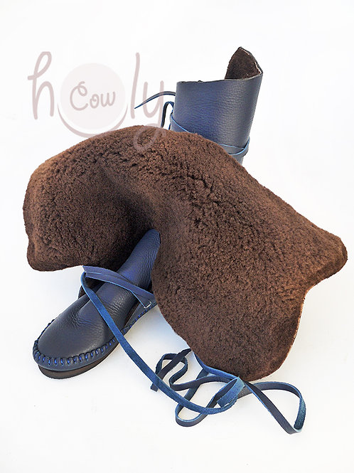 Blue Moccasins With Thick Sheepskin