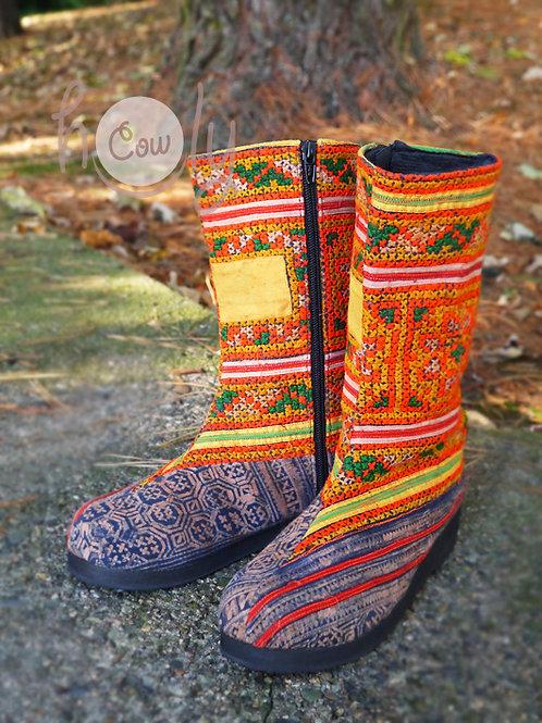 Women's Orange Tribal Vegan Boots
