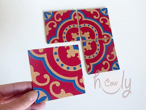 Set of Four Handmade Tile Cork Coasters