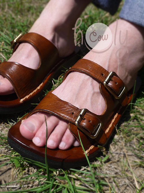 Adjustable Brown Leather Buckle Sandals