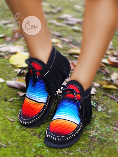 Black Suede Serape Moccasin Boots