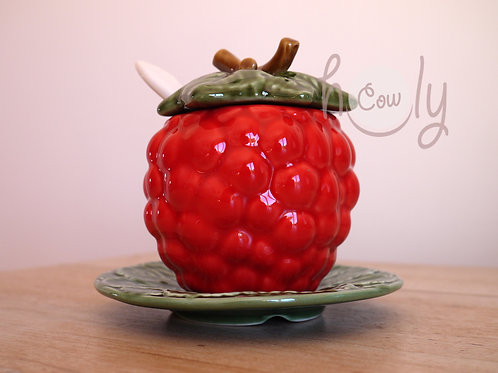 Raspberry Bowl With Spoon on Leaf Plate