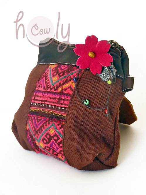 Brown and Pink Tribal Coin Wallet