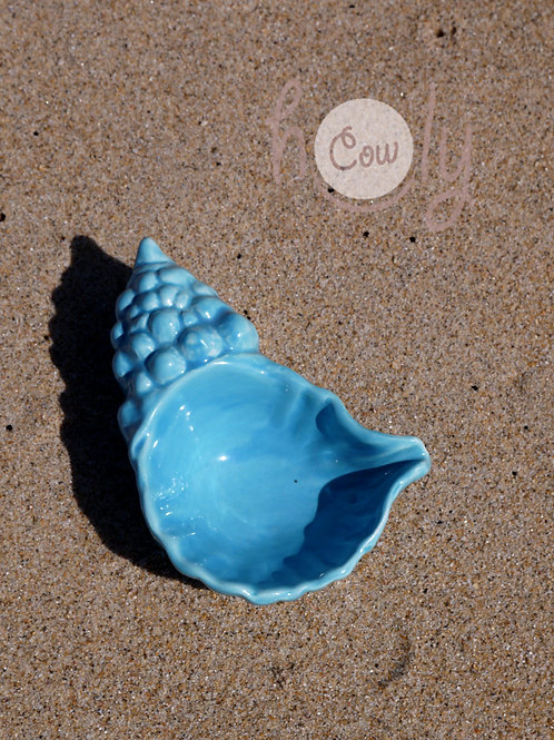 Blue Ceramic Sea Shell Dish